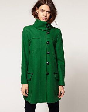 green coat the color, the collar, the asymmetrical buttons...yum. green winter  coatgreen ... jgubwrj