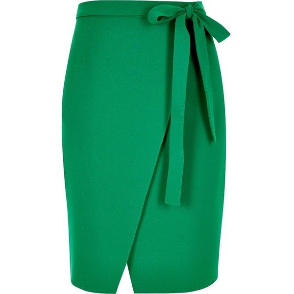 green skirt river island green wrap skirt ($43) ❤ liked on polyvore featuring skirts, uvxfqja