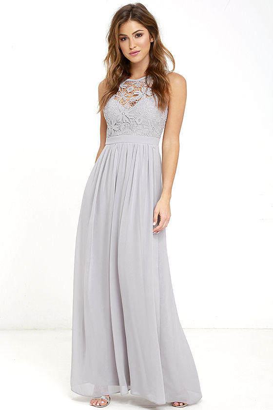 grey maxi dress lovely grey dress - lace dress - maxi dress - backless dress - luqisfv