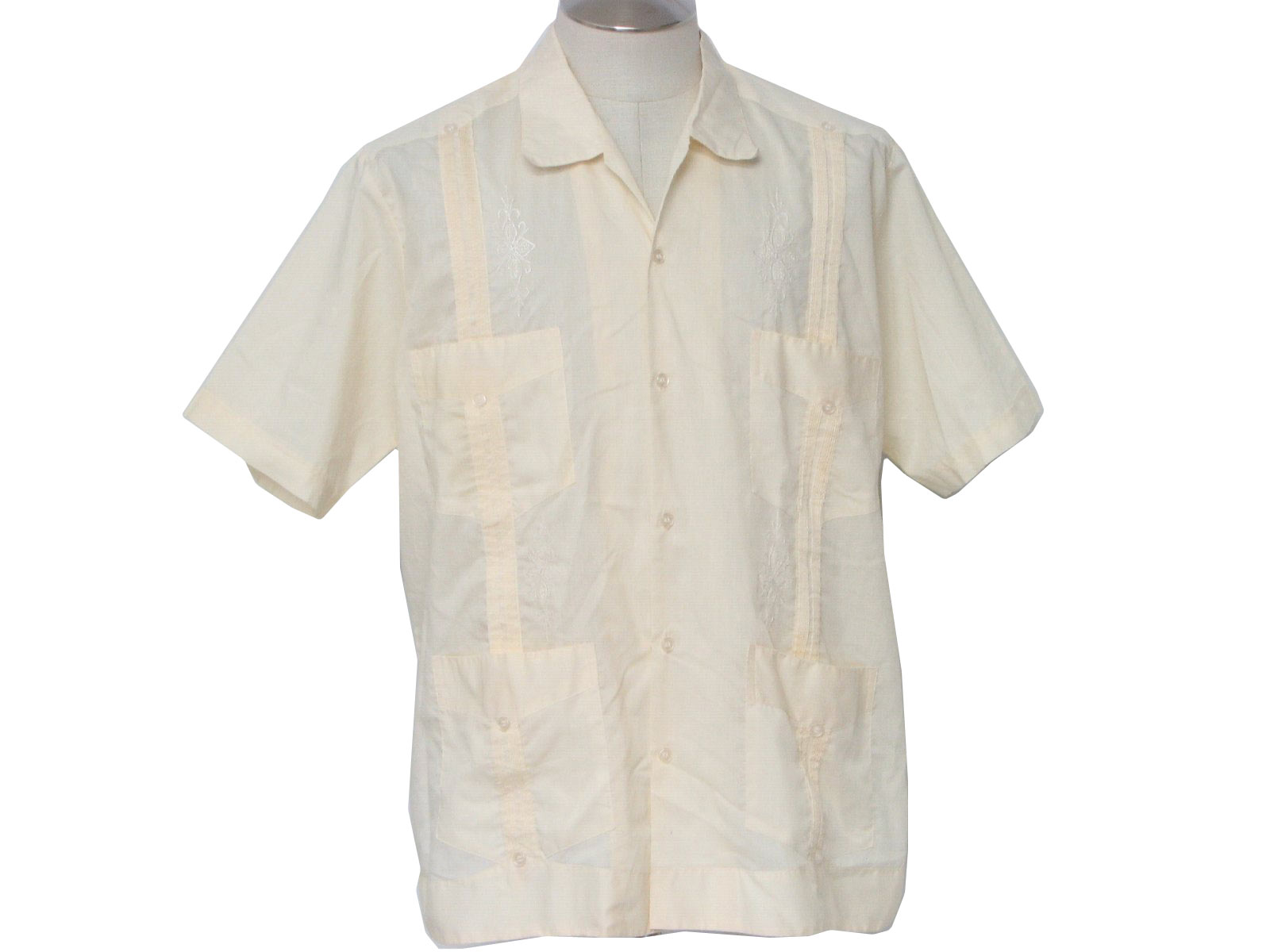 guayabera shirts vintage cancun 80u0027s guayabera shirt: 80s -cancun- mens pale yellow  polyester blend tspoaxv