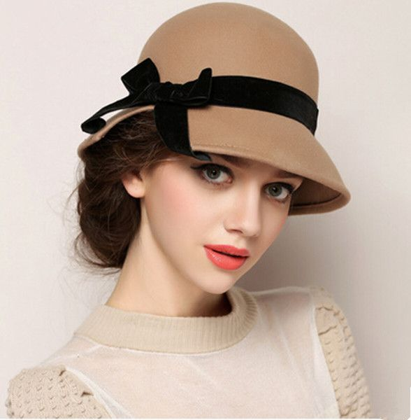 hats for women bow wool cloche hat for women fashion bowler winter hats ayulgvt