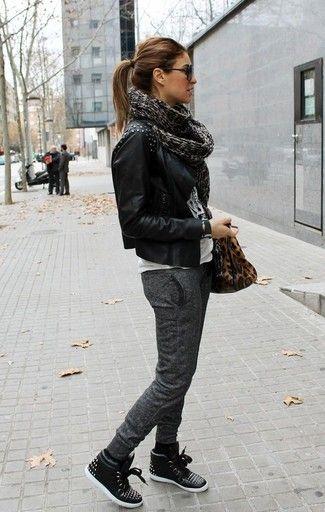 high top sneakers for women womenu0027s black studded leather biker jacket, white and black print crew-neck  t- rjjzyxa