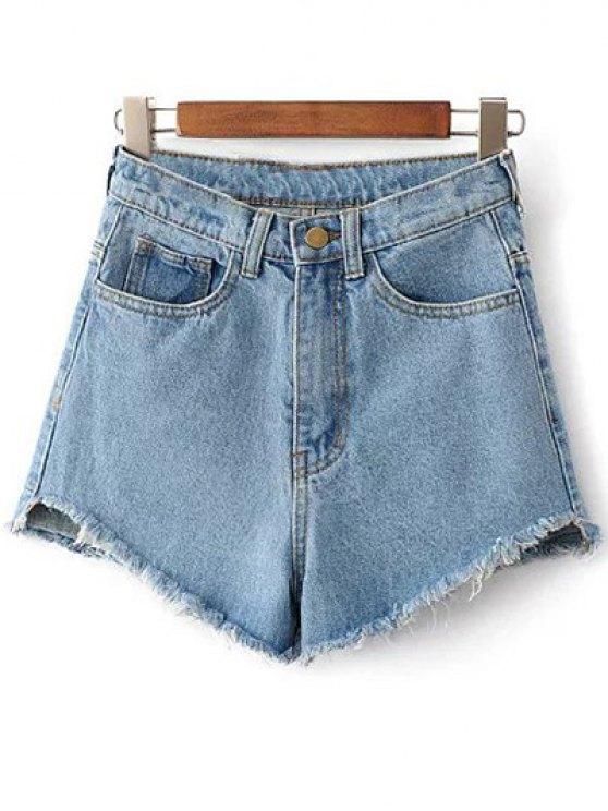 high waisted denim shorts shops fringe high waist denim shorts - light blue 27 dpogayh