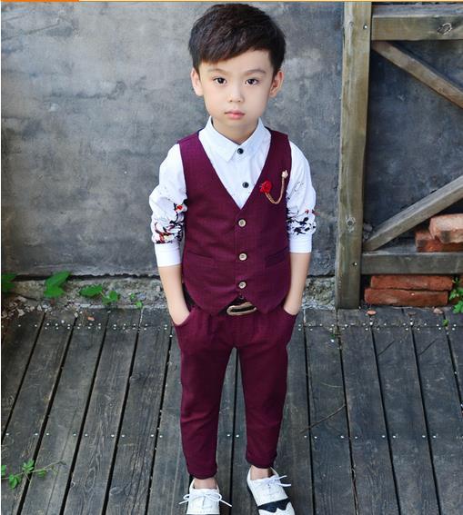 in stock new baby suit vest + trousers boy blazers sets children garment rwtqxea