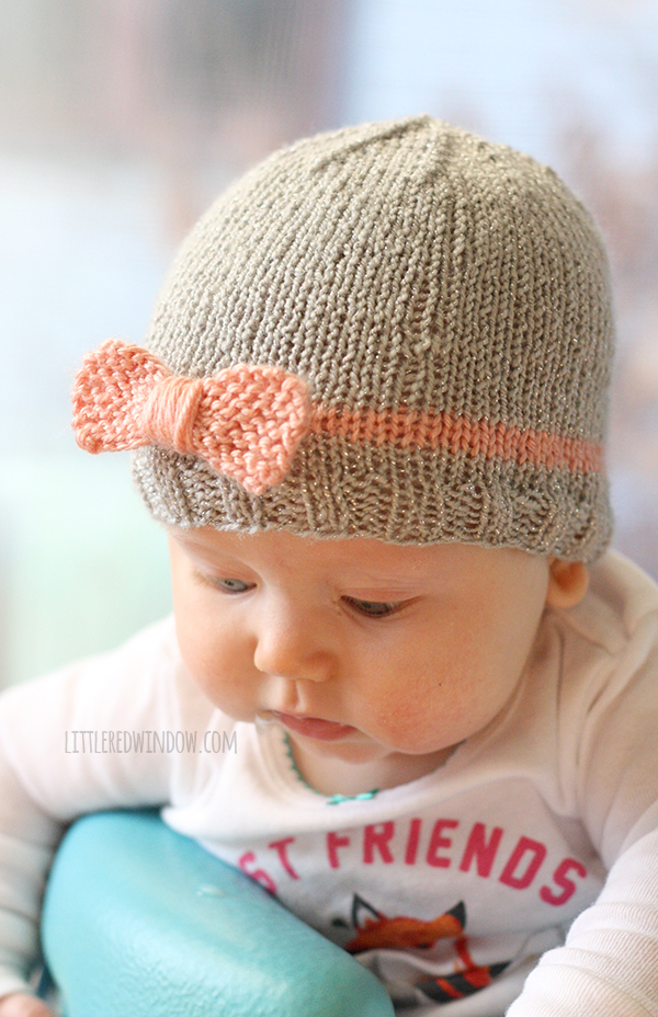 knitted baby hats ... knit bow baby hats | littleredwindow.com | a quick easy and free zkclisz