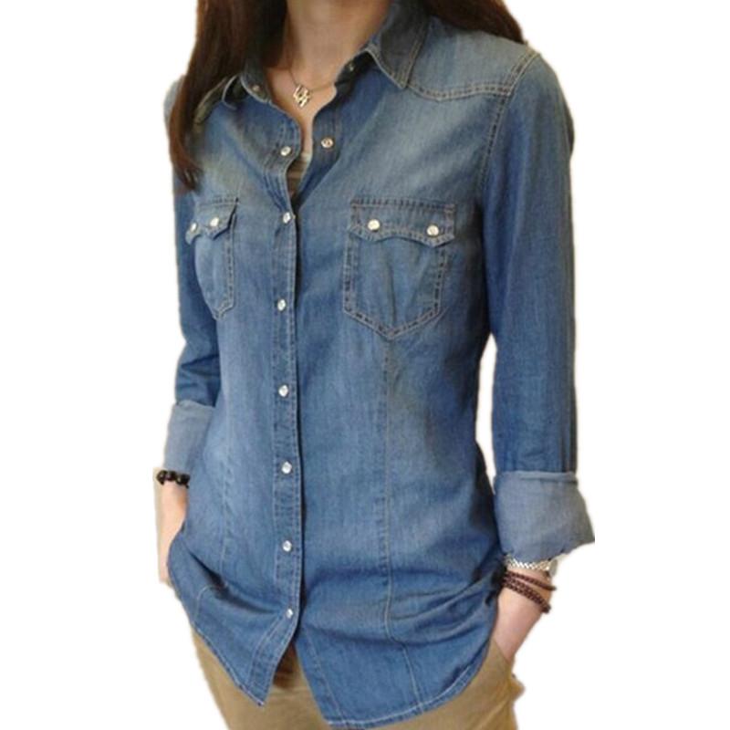 ladies shirts aliexpress.com : buy womens chambray shirt top denim shirts and blouses  long ahscoxk
