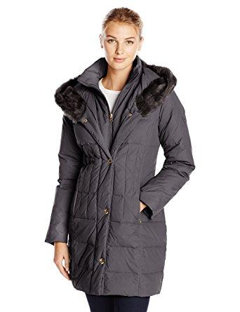 larry levine coats larry levine womenu0027s hooded 3/4 length down filled coat, black, x- pmqtyoz