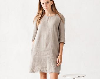 linen dresses linen dress, natural grey linen dress, loose dress, linen tunic, minimal  linen krrwexm