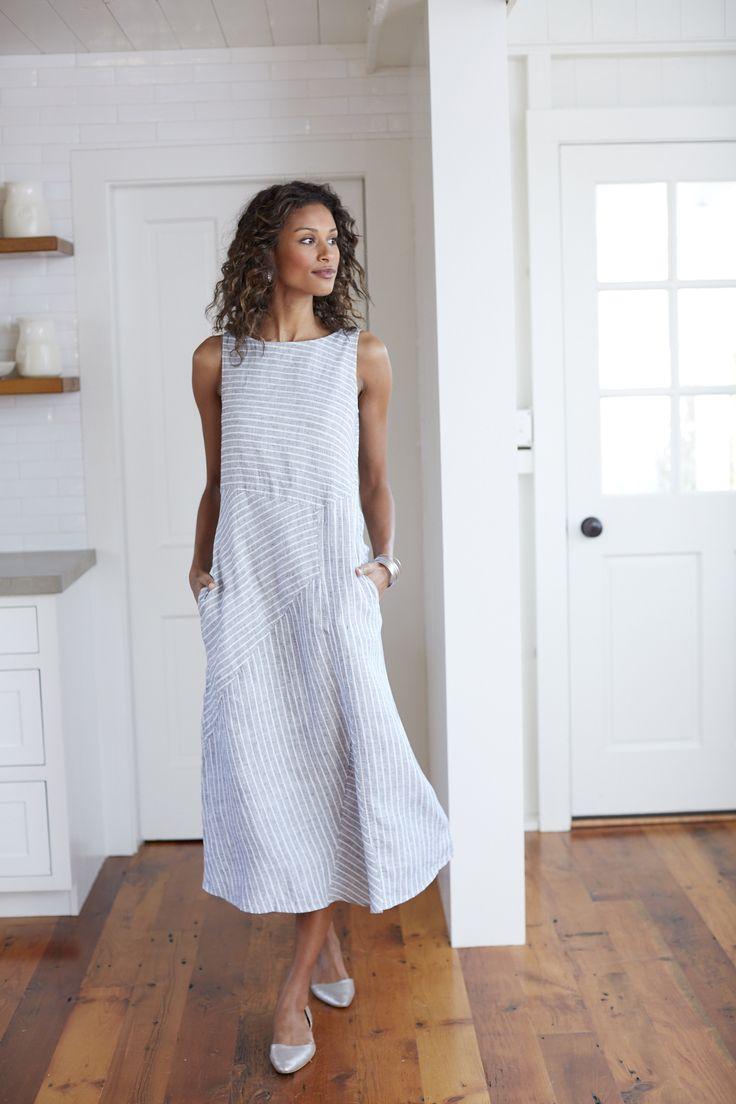 linen dresses mixed-stripes linen dress sxrnyxq