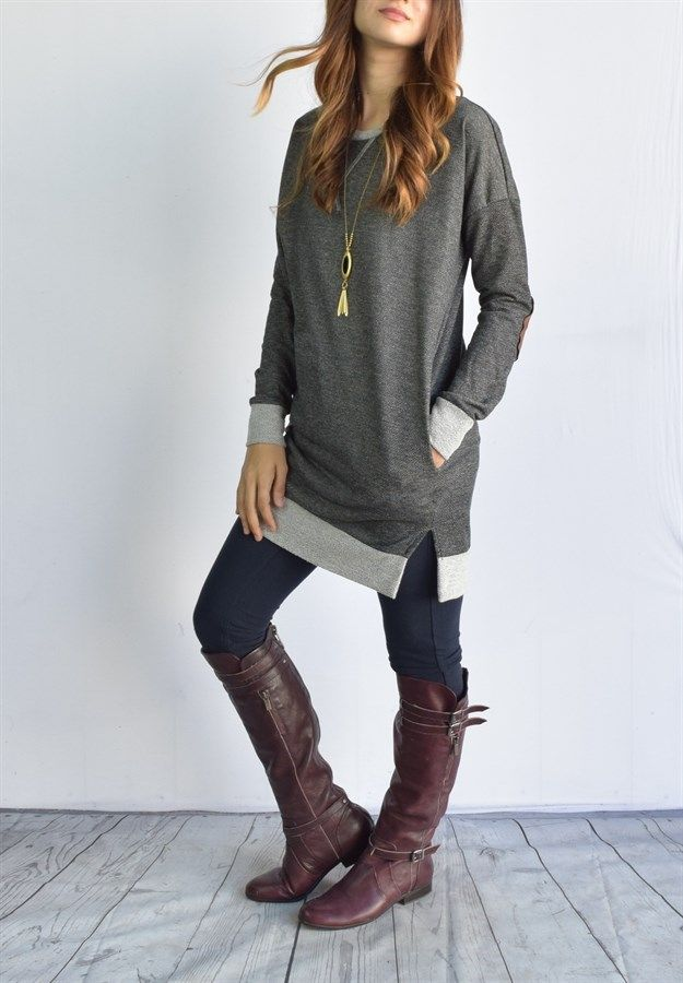 long shirts for leggings blow out suede patch long terry tunic   fast ship zdvxnwr