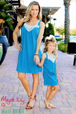 mommy and me outfits mommy u0026 me aqua crochet neckline shift dress - adult kneectr
