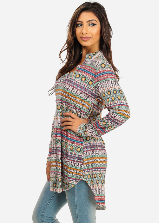 multicolored printed long sleeve tunic top yzmujgu
