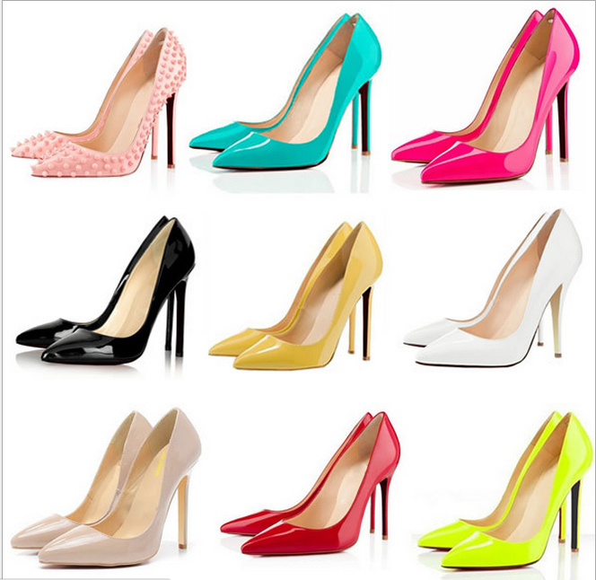 new 2014 red sole high heel shoes pointed toe pumps fashion thin heels eikhzow