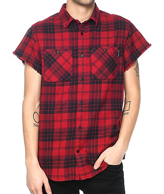 ninth hall enzo red u0026 black destroyed short sleeve flannel shirt ampjgfi