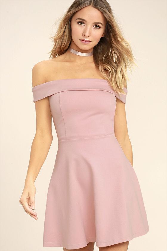 off the shoulder dresses season of fun blush pink off-the-shoulder skater dress 1 qnqkehr