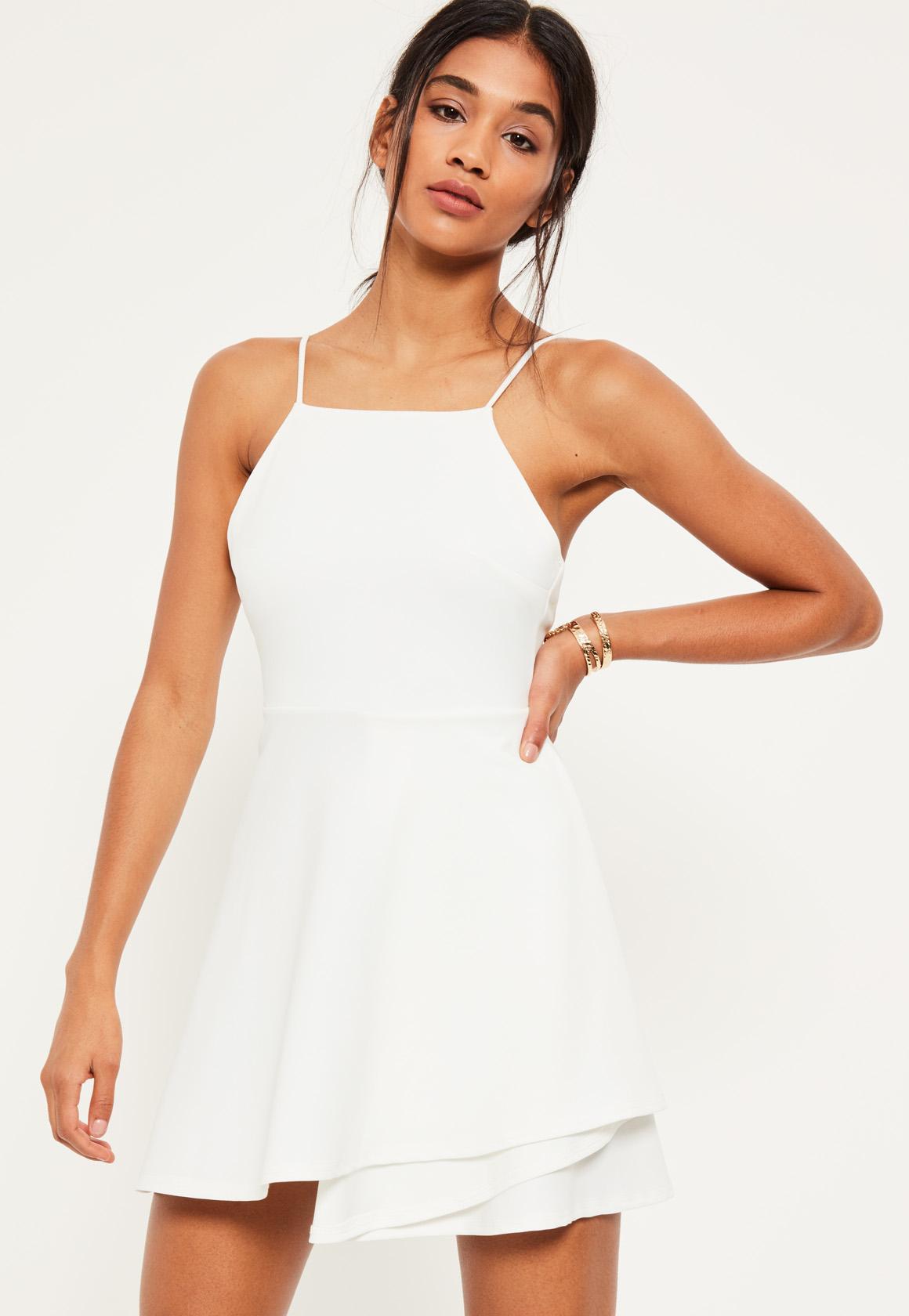 open back dresses white square neck open back skater dress ampucgy
