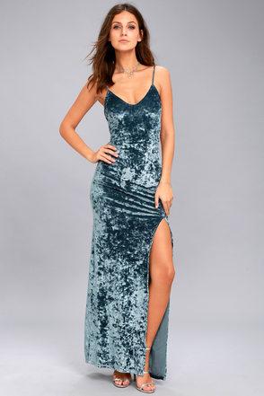 party dresses for women supernatural love slate blue crushed velvet maxi dress 1 npmmgmz