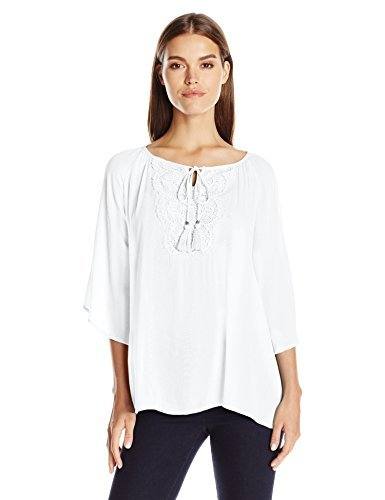 peasant tops notations womenu0027s solid 3/4 sleeve raglan peasant top with crochet, white  yacht, yttngwu