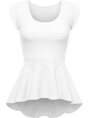 peplum tops fpt womens short sleeve peplum top white large akmyhwe