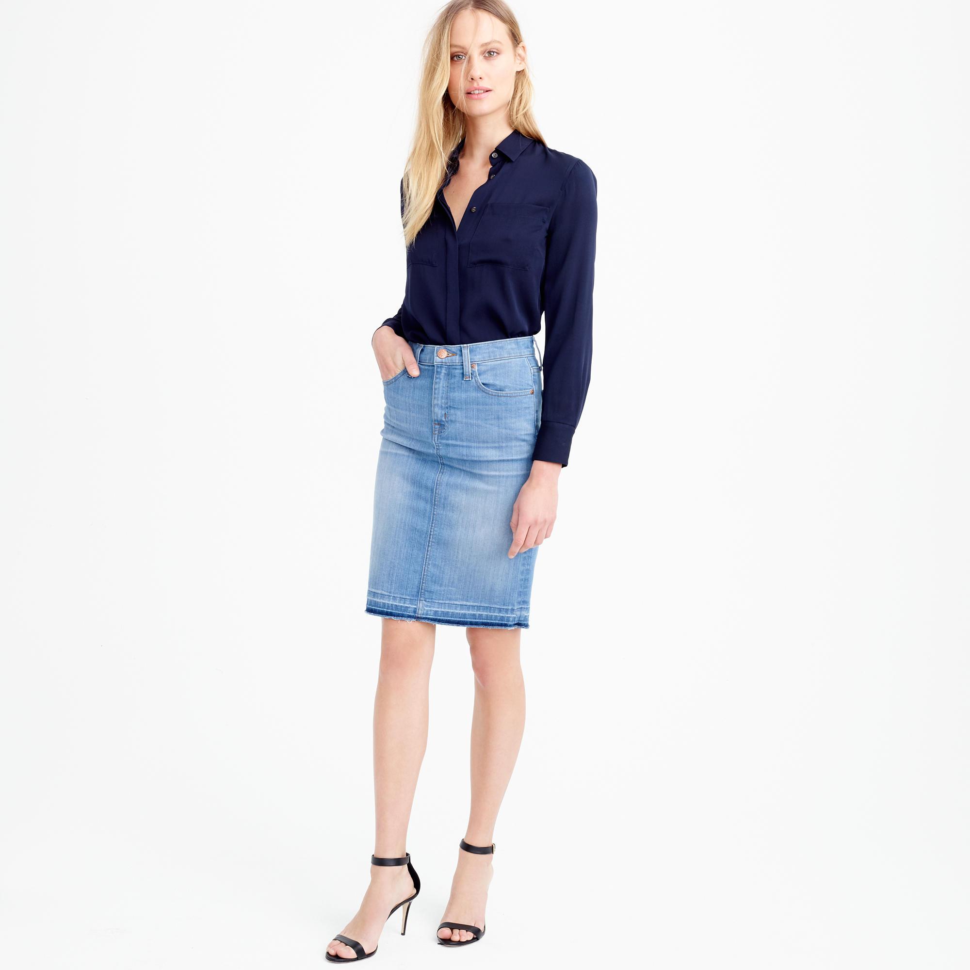 petite frayed denim pencil skirt ... rpkvkrx