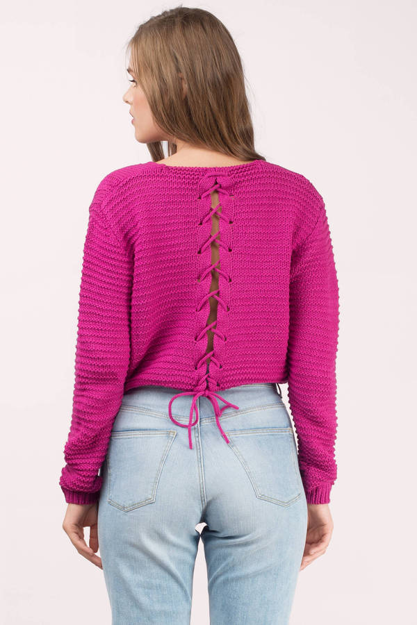pink sweater ... laced up berry sweater ... ahofcyy