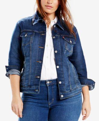 plus size denim jacket leviu0027s® plus size trucker denim jacket mkrolni