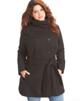 plus size pea coat dollhouse plus size coat, double-breasted belted pea coat icniheb