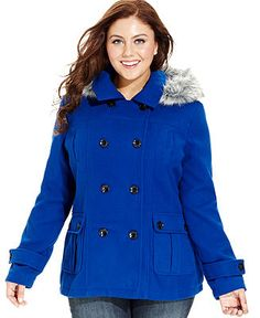 plus size pea coat dollhouse plus size coat, hooded faux-fur-trim pea coat - plus size dcobtlr