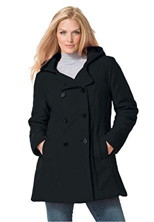 plus size pea coat womenu0027s plus size hooded fleece pea coat black ... ombcucr