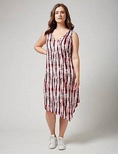 plus size sun dresses fast lane tie-dye dress with asymmetrical hem xiandau