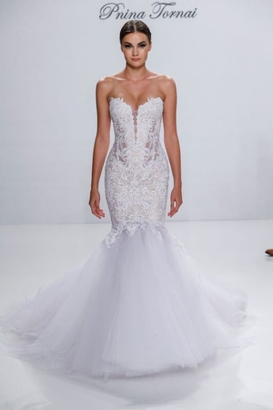 pnina tornai wedding dresses sweetheart fit and flare wedding dress with natural waist in tulle. bridal dmmdvom