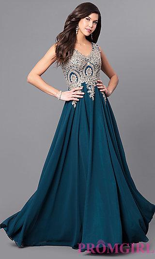 prom gowns lace-applique long chiffon prom dress - promgirl pzqtygx
