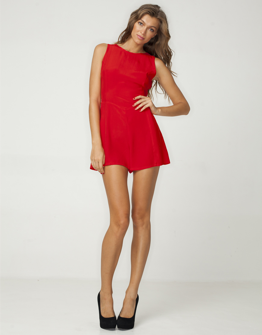 red playsuit ... motel rita cut out back playsuit in red wsjuczh