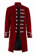 renaissance mens velvet goth steampunk victorian frock coat/burgundy vsymqvx