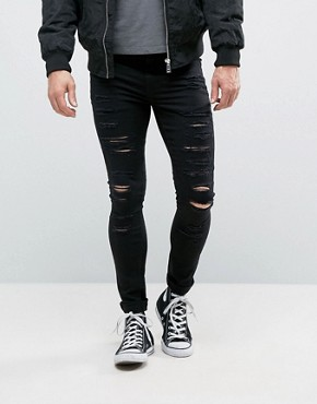 ripped black skinny jeans new look extreme super skinny jeans with rips in black hildbdo