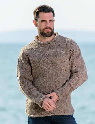 roll neck sweater - fisherman sweater - honey yfeyfpg