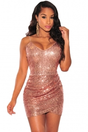 sexy club dresses rose gold sequin ruched club dress ybxtojf