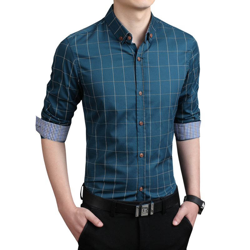 shirt for men plaid men shirts tailoring slim fit m-5xl 100% cotton mens dress shirts male rkjfeqj