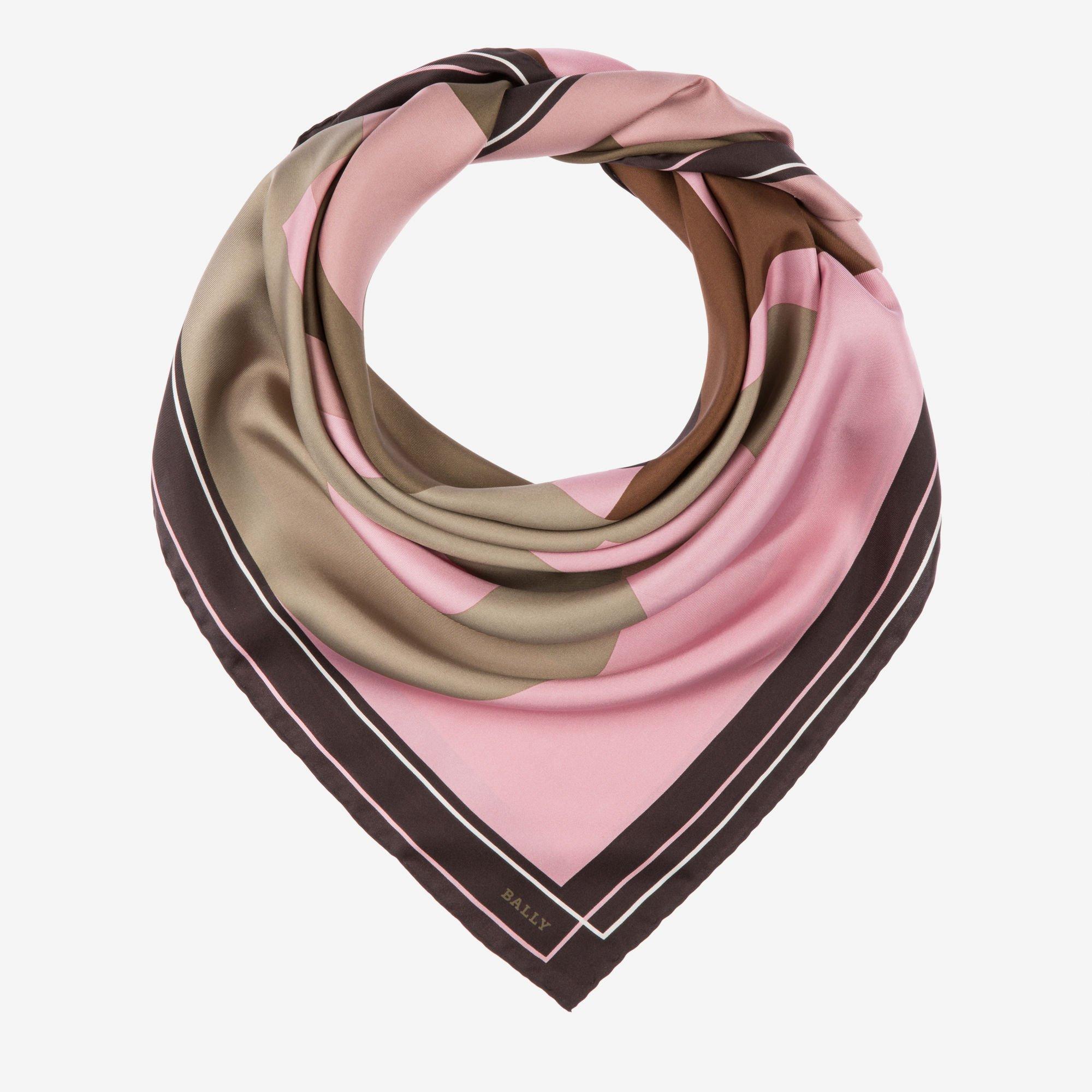 silk scarf pink mix wool/silk - bally etvnhys