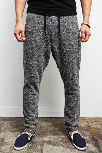 sweatpants for men details about mens fashion semi baggy knit sweatpants - black / gray, udhajxe