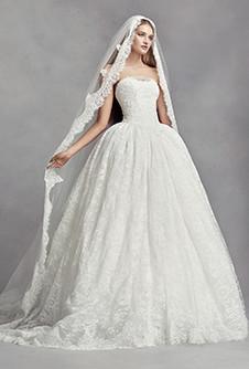 vera wang dresses white by vera wang lace appliqued mantilla-style cathedral veil jdmrqng