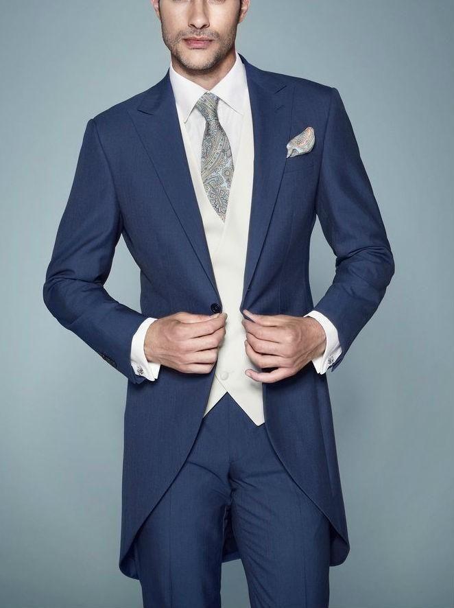 wedding suit for men new arrivalc -- morning stylish peak lapel navy blue tailcoat groom tuxedos mgmtavw