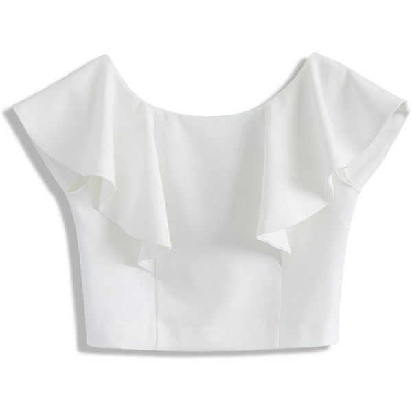 white tops chicwish drift in a frilling white cropped top found on polyvore featuring dkwiflj