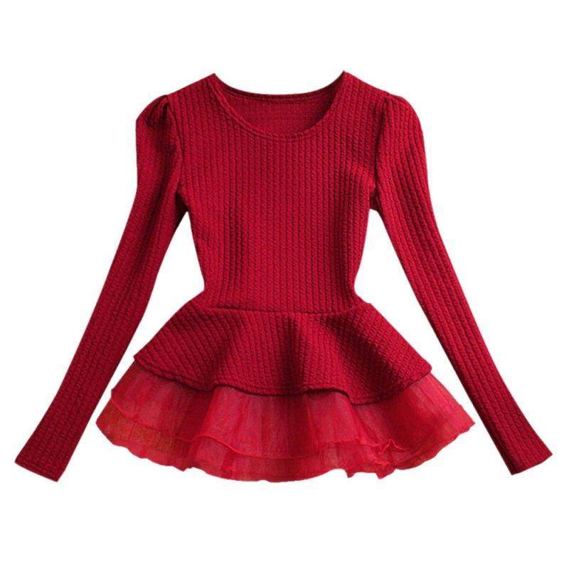 women crew neck cotton peplum tops shirt long sleeve blouse hot sale(china dmtokel
