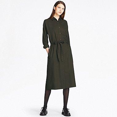 women dresses women flannel long-sleeve shirt dress, olive, medium dcizoxu