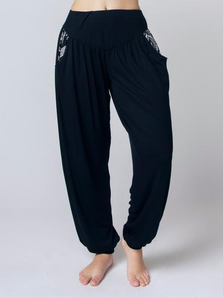 womenu0027s kihari black yoga pants - the elephant pants peafjvi