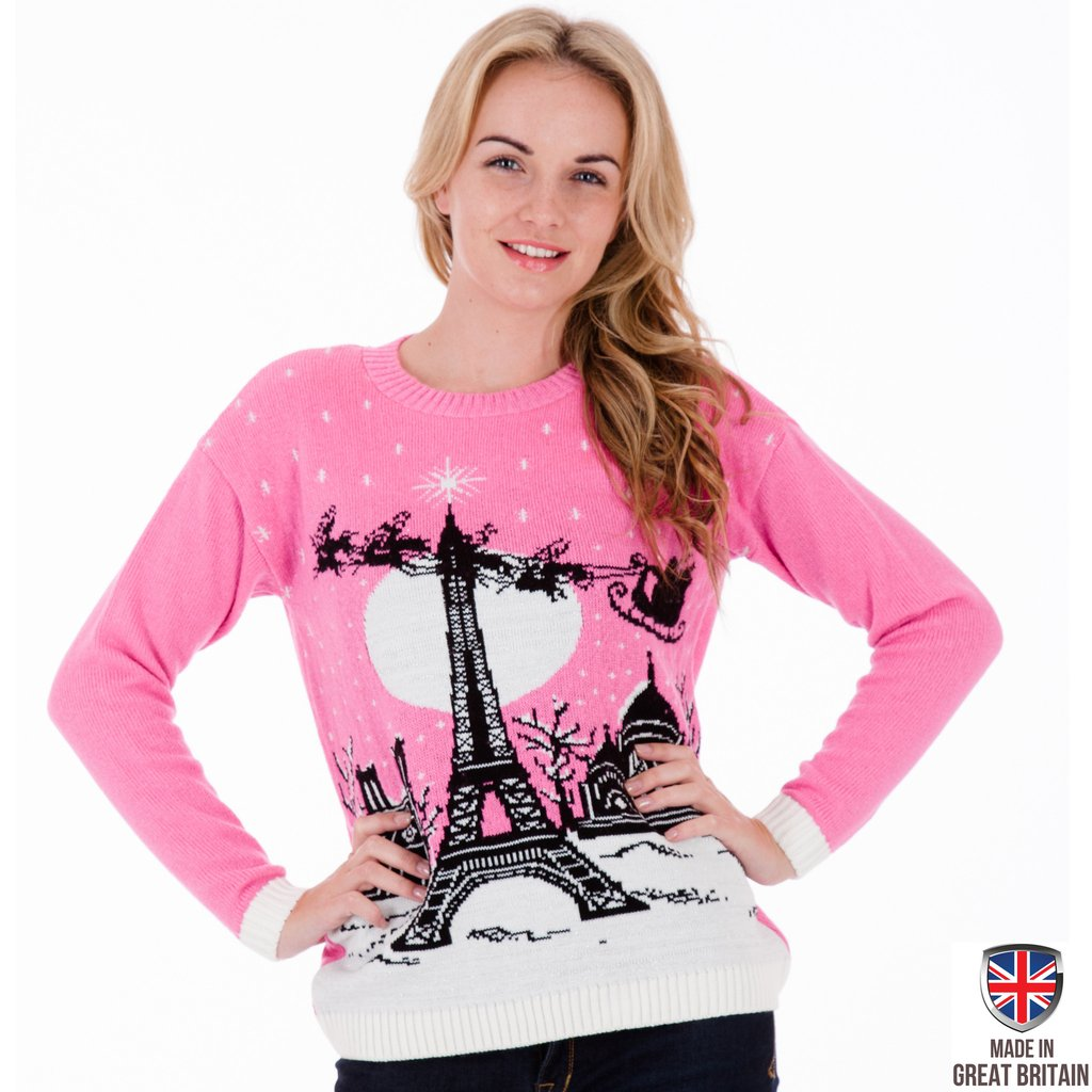 womens christmas jumpers christmas in paris - womens christmas jumper tuthjay