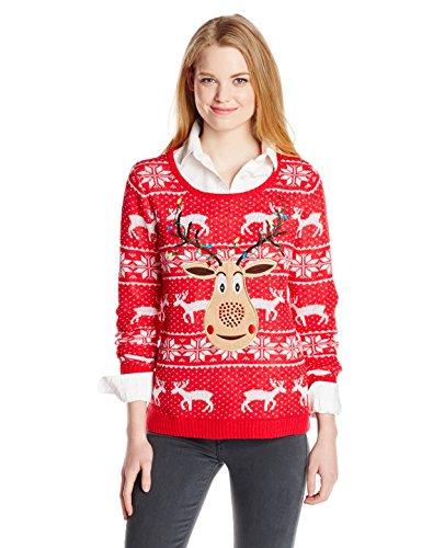 womens christmas sweaters amazon.com: isabellau0027s closet womenu0027s sequin rudolph on fair isle ugly christmas  sweater, mqakhiu