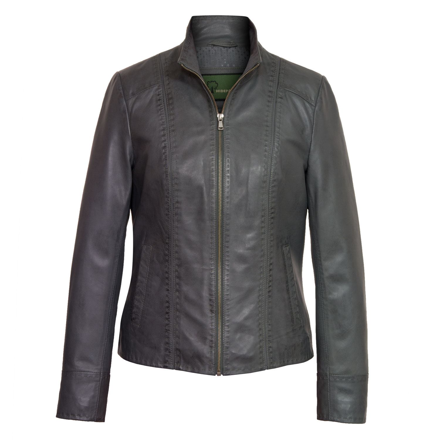 womens grey leather jacket may lrcxanl