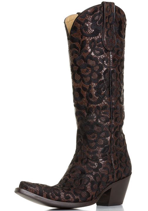 womens western boots corral womens western floral lace snip toe cowboy boots - chocolate/black tqaovll